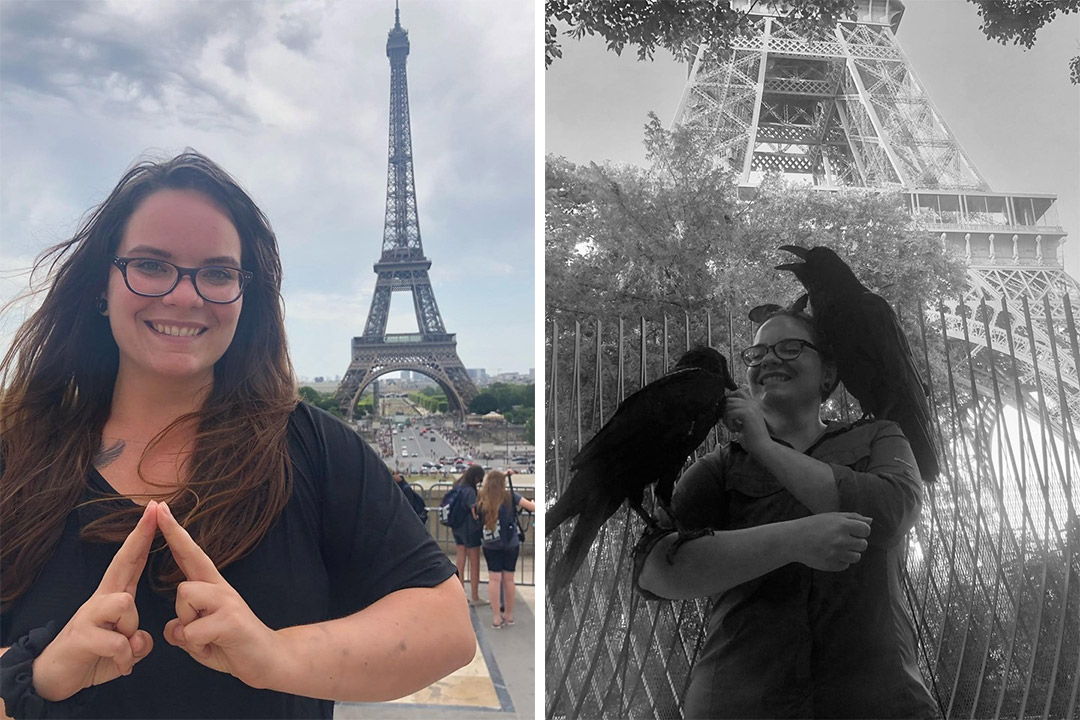 'Side-by-side images of student standing in front of Eifel Tower and with ravens on her arm and shoulder.'
