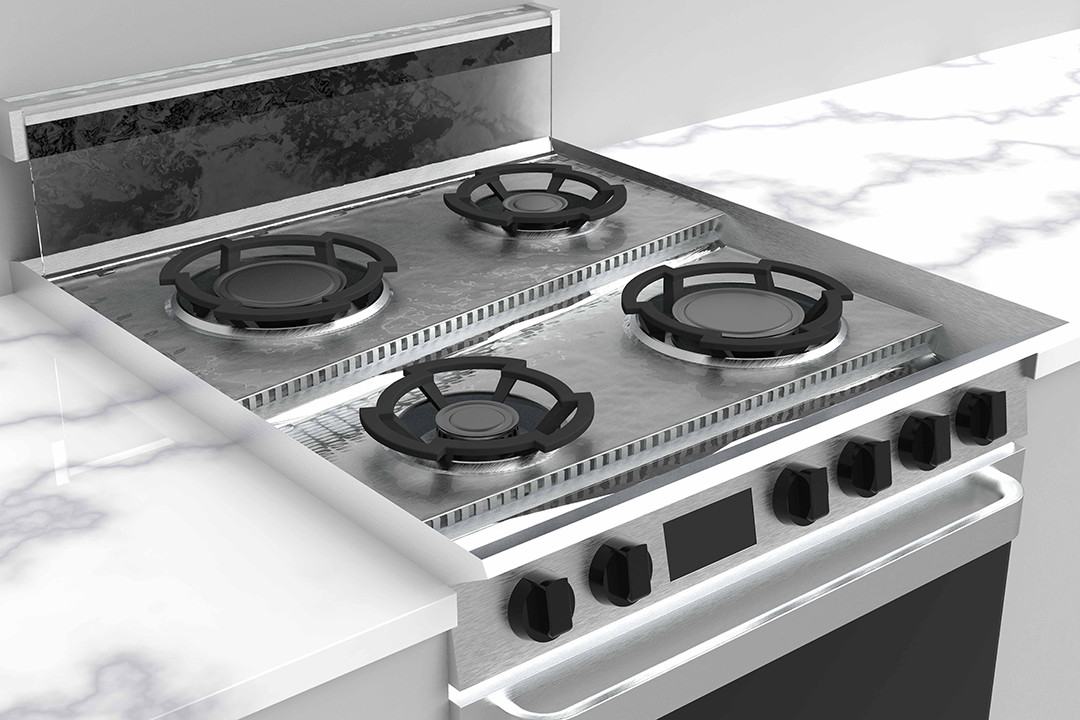 A stove top mechanism that automatically cleans the top after use
