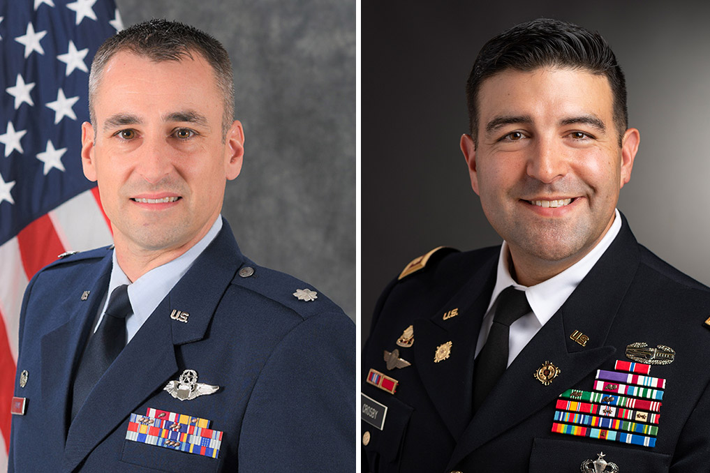 'Side-by-side images of Lt. Col. Jason Turner and Maj. Ryan Crosby.'