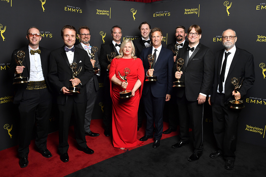 The award-winning Barry sound crew poses for a photo at the Emmys