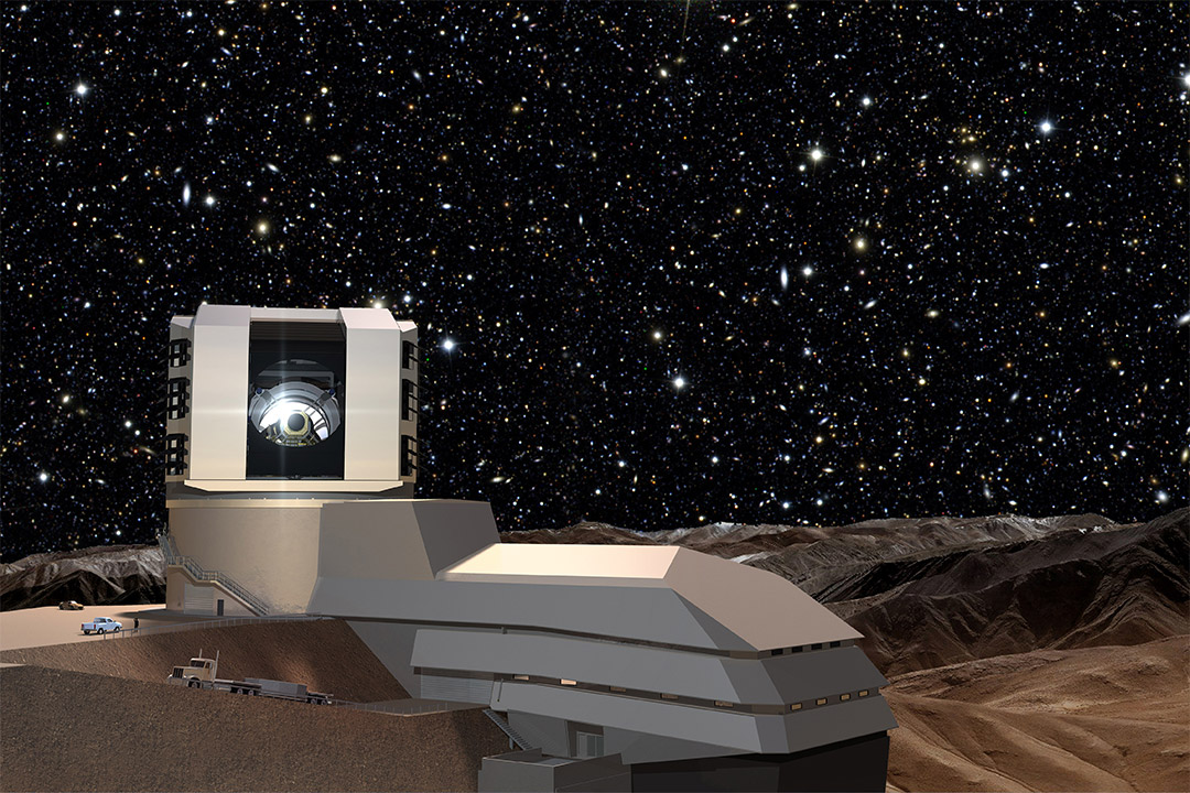 'Large telescope with starry night in the background.'