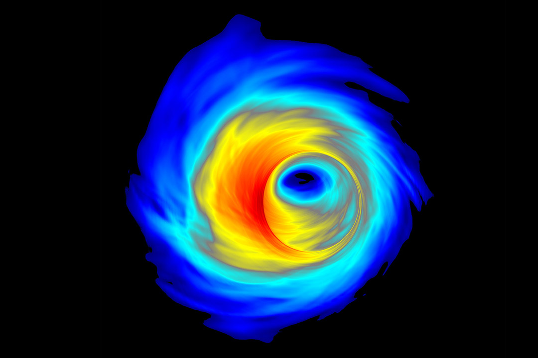 Simulation of an accretion disk surrounding a supermassive black hole.