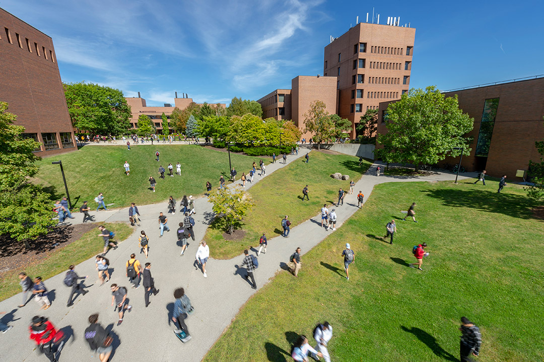 Students walking across walkway and lawn between brick buildings.