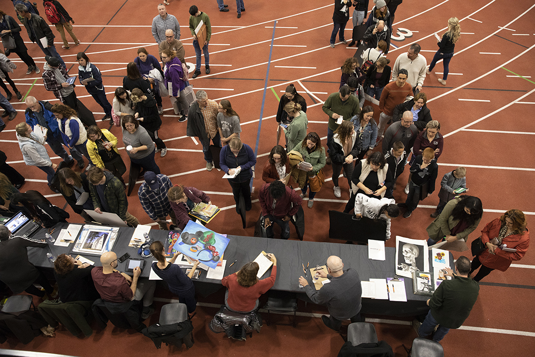 'An overhead photo of RIT's National Portfolio Day.'