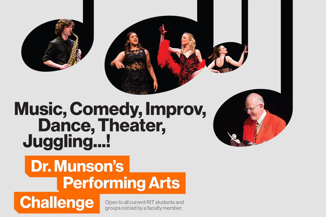 'Graphic reads: Music, comedy, improv, dance, theater, juggling! Dr. Munson's Performing Arts Challenge.'