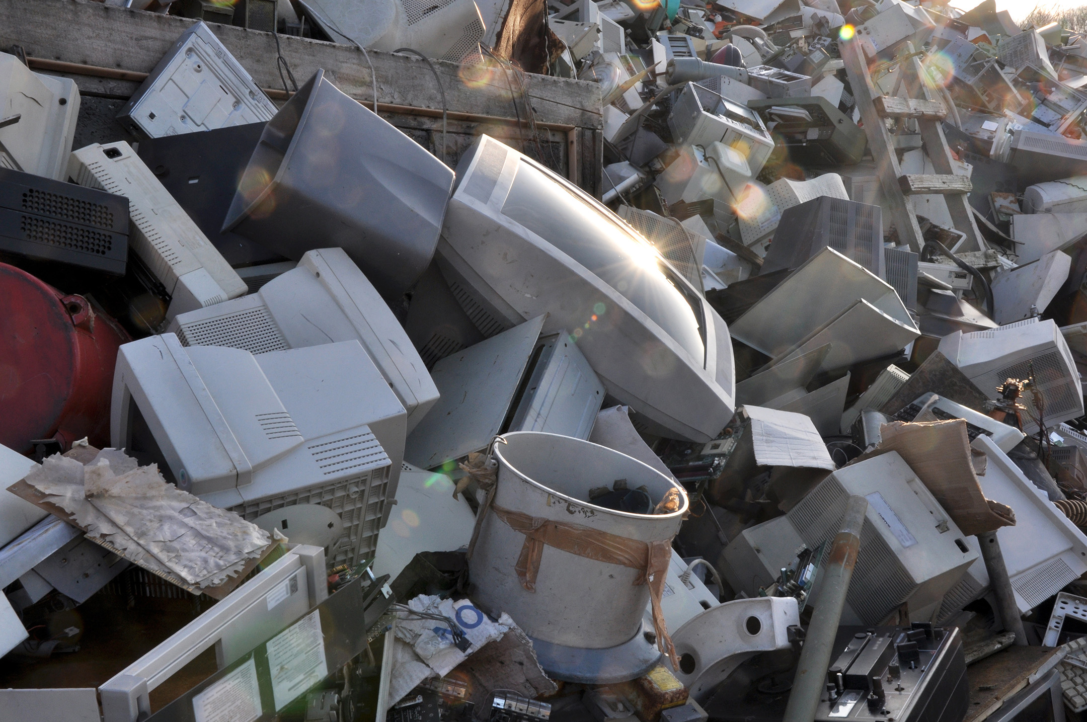 Televisions in a waste pile