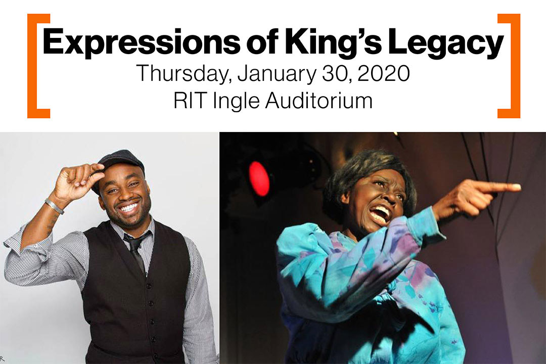 'side-by-side images of poet Javon Johnson and actress Mzuri Moyo Aimbaye with the text: Expressions of King's Legacy, Thursday, January 30, RIT Ingle Auditorium.'