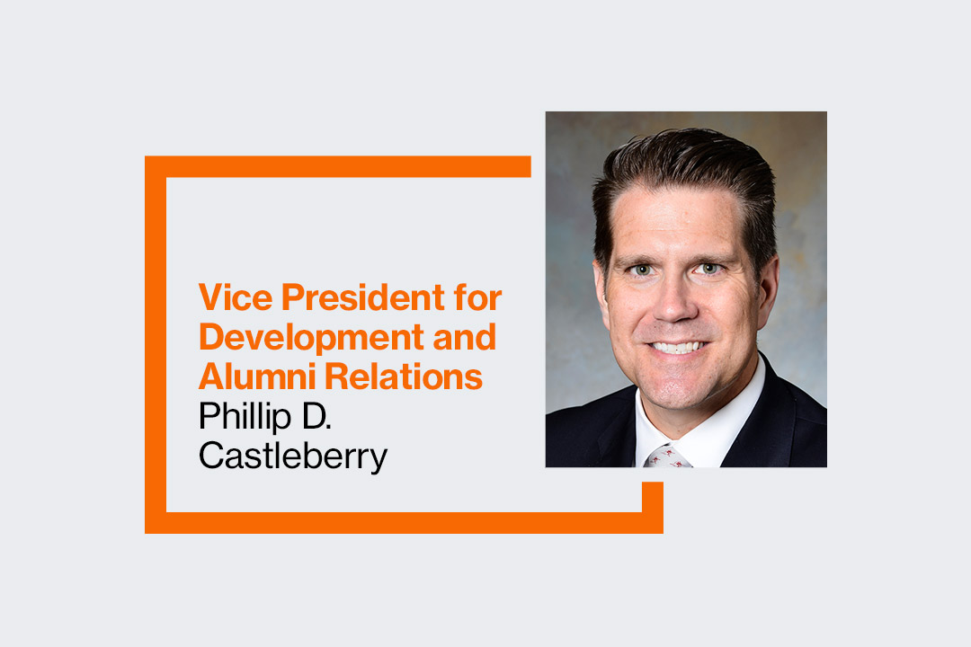 Phil Castelman's headshot with the text: Vice President of Development and Alumni Relations Phillip D. Castleberry.