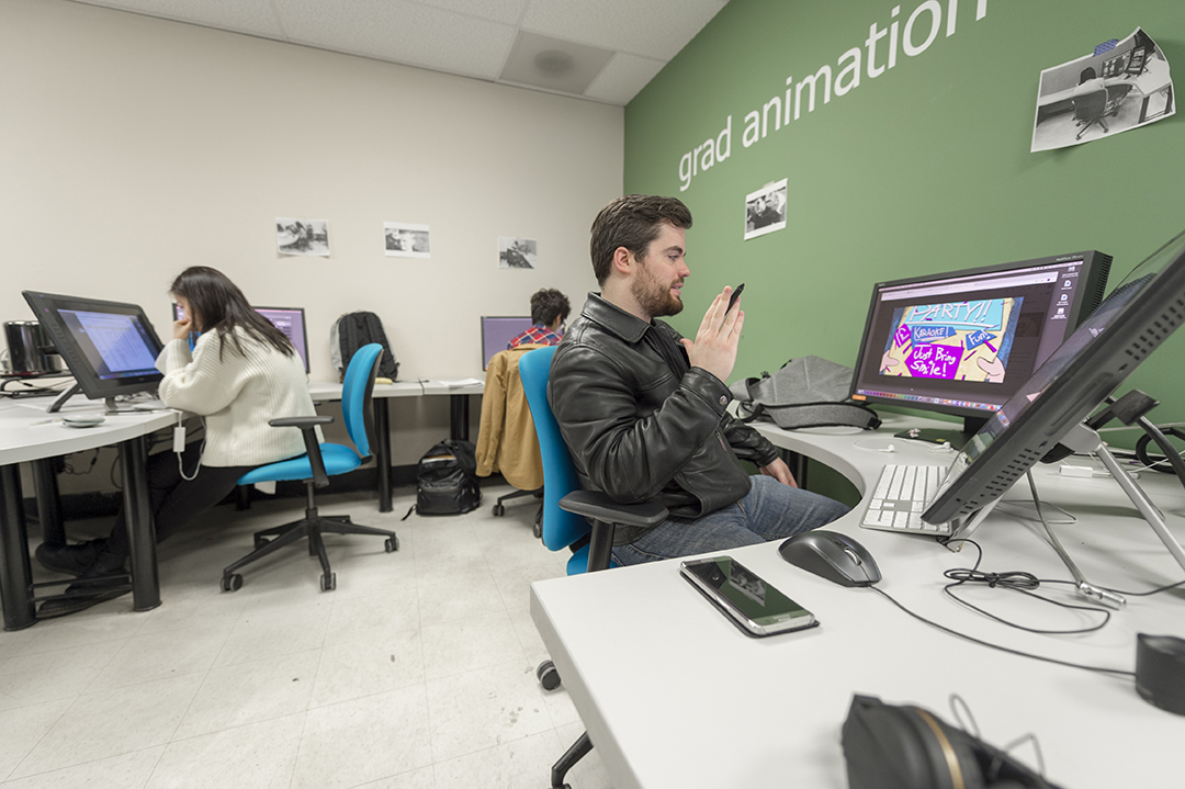 MFA in Film and Animation students work in the program's lab.