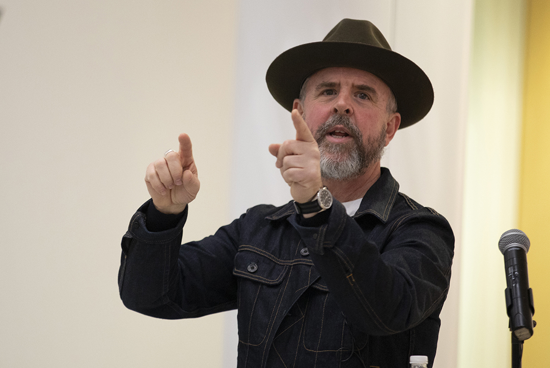 Gary Hustwit presents to a standing-room-only crowd on Feb. 4 in University Gallery.