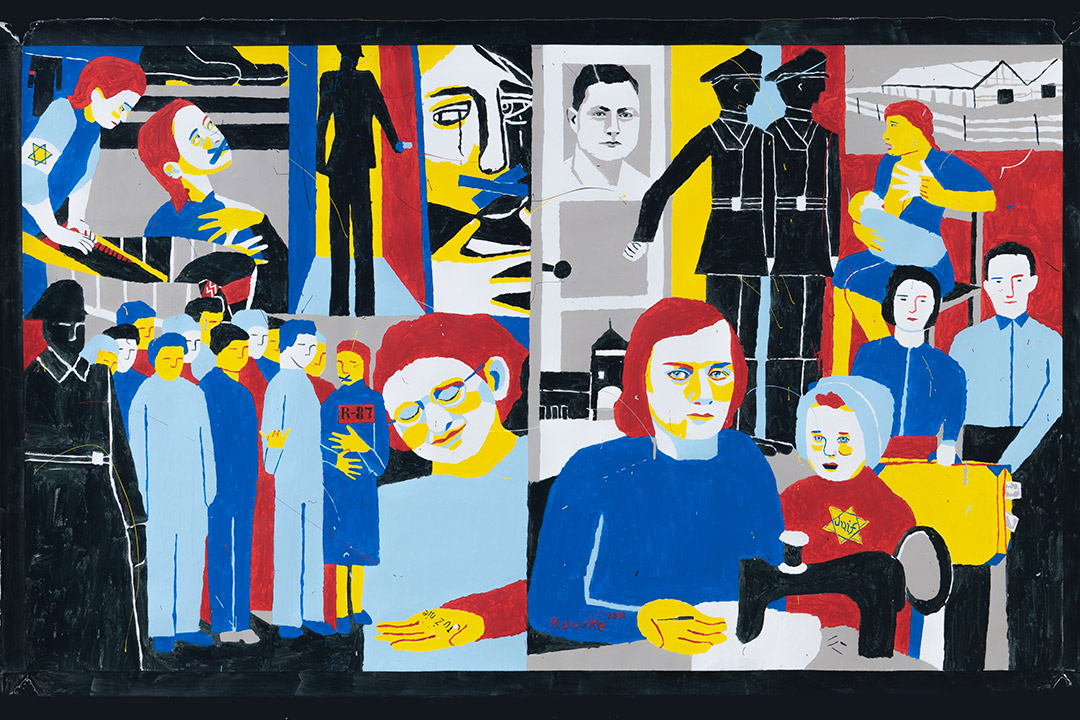 painting depicting people in shades of blue, red, yellow and black.