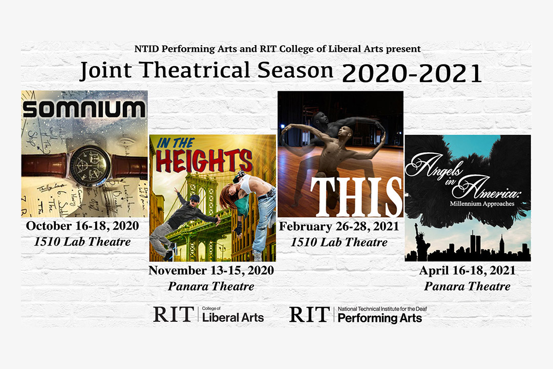 collage of posters for four theatrical performances.