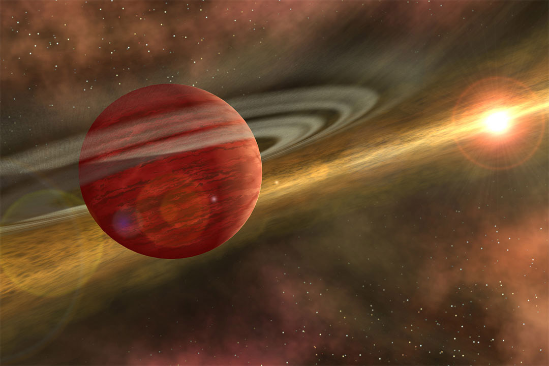 'Artist's conception of a massive planet orbiting a cool, young star. '