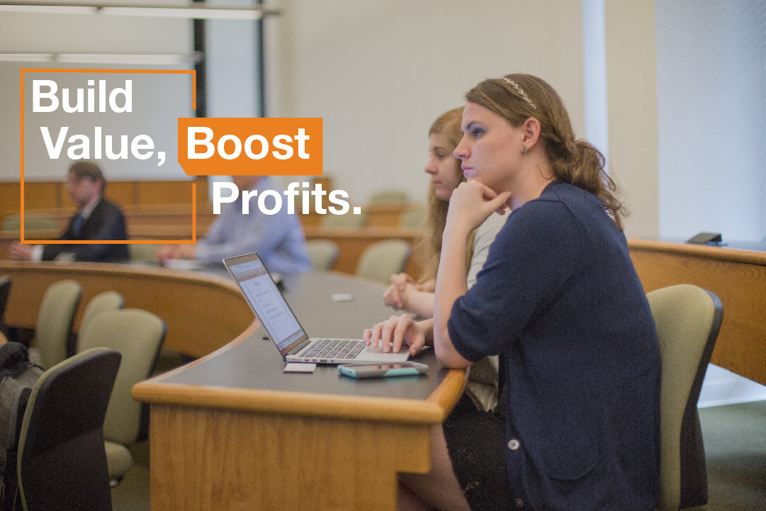 students in lecture-style classroom with text: Build value, boost profits.