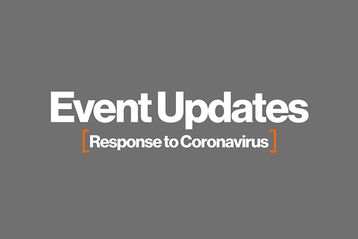 graphic with the words: Event Updates: Response to Coronavirus