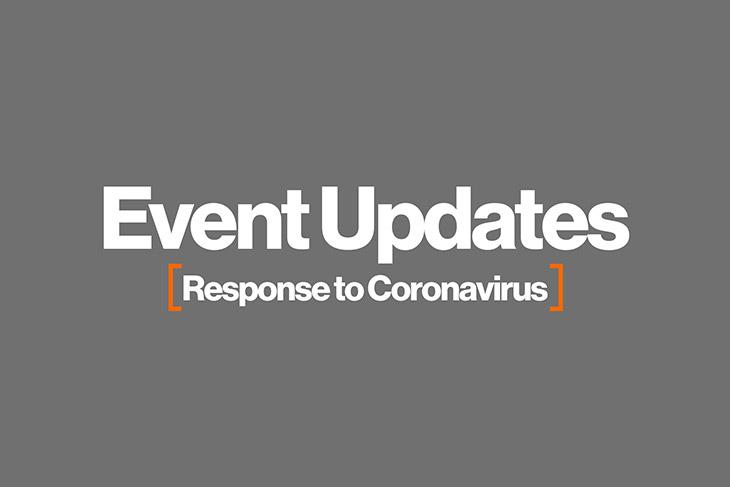 graphic with the words: Event Updates: Response to Coronavirus