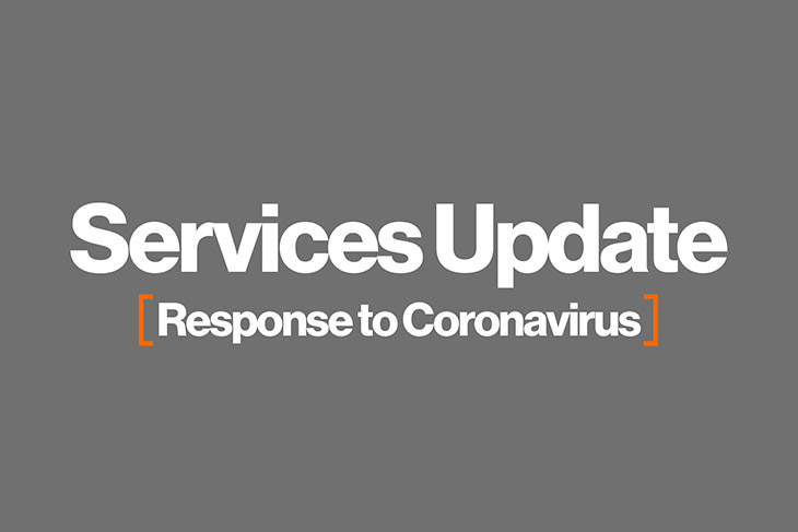 graphic with the words: Services Update: Response to Coronavirus