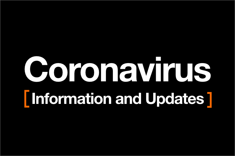 graphic with the words: Coronavirus information and updates.