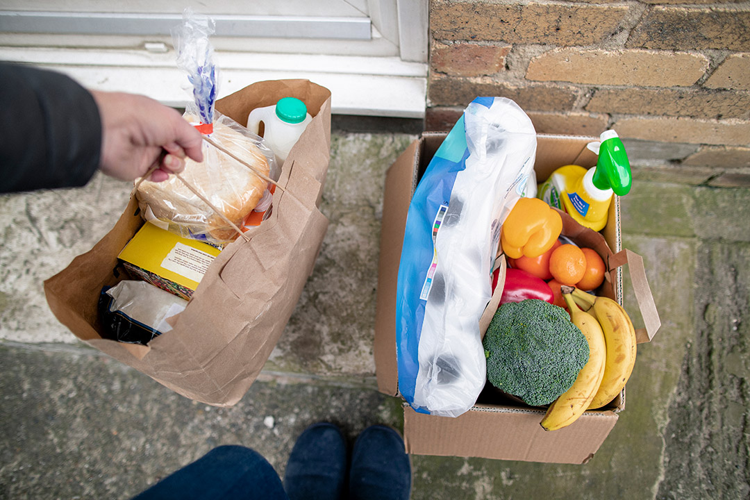 person setting paper bag of groceries on the front step of a house next to a cardboard box of groceries.