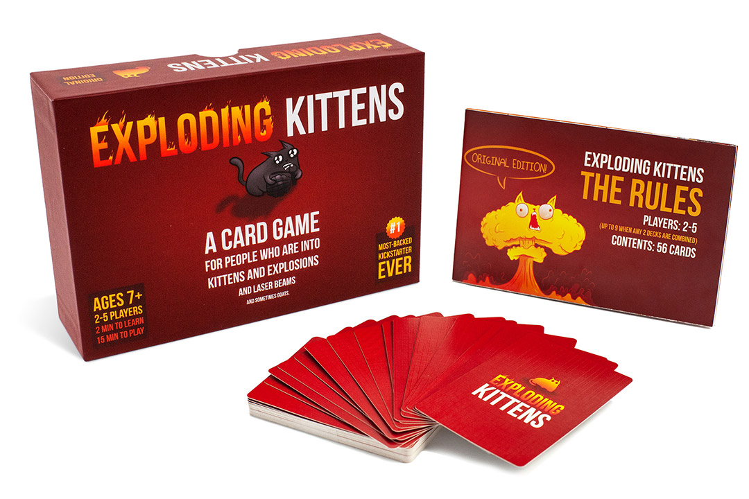 box and cards from the card game Exploding Kittens.