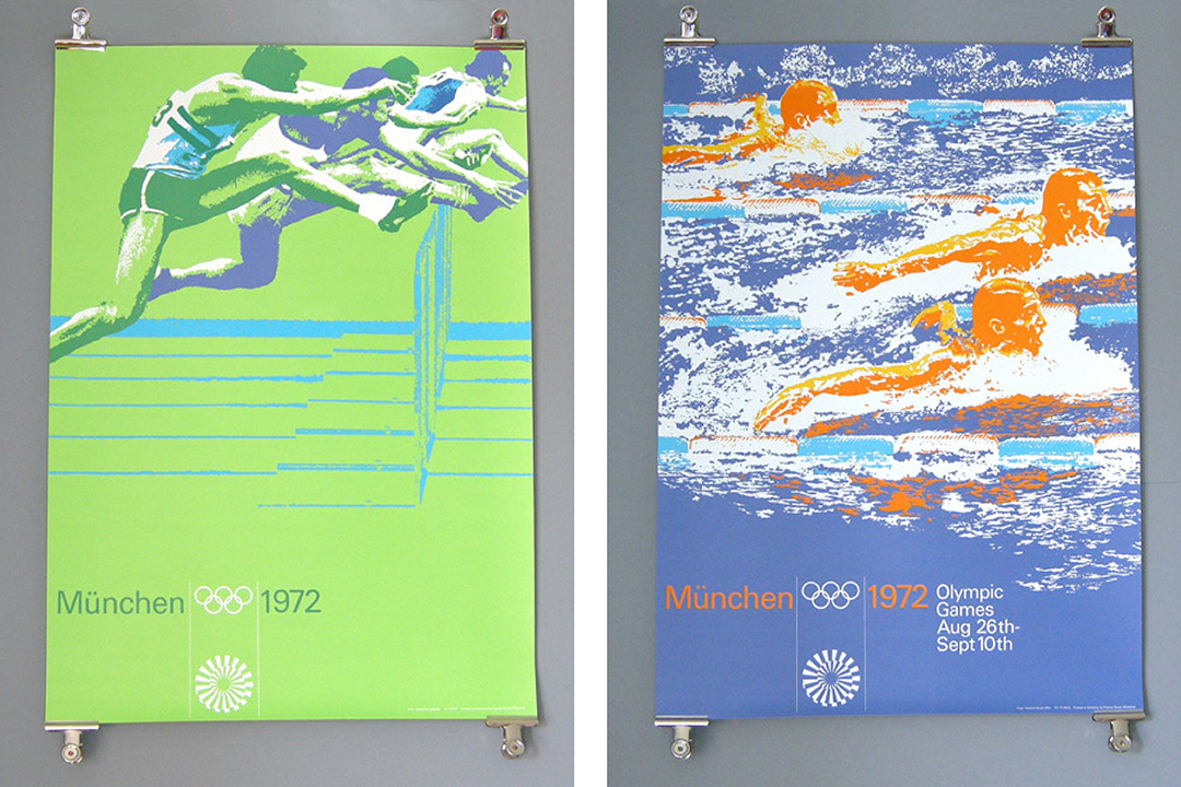 A pair of posters promoting the 1972 Munich Olympics.