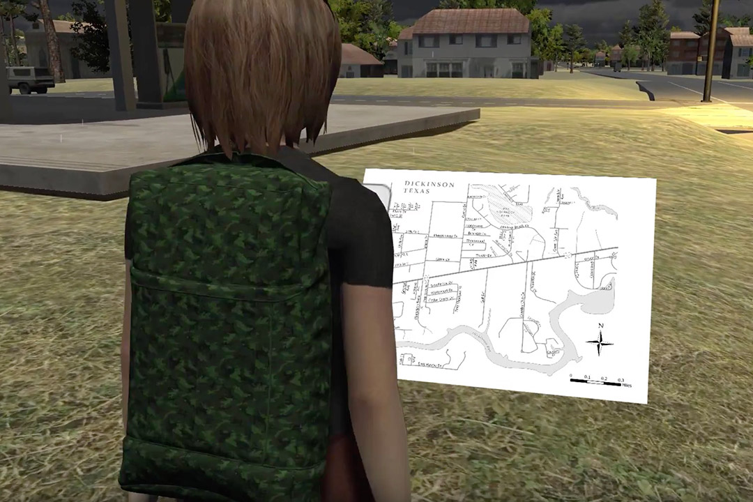 screenshot from video game of avatar looking at a map.