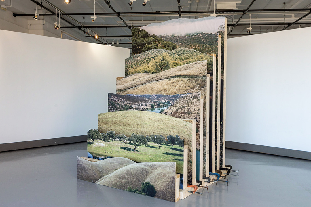 A photographic sculpture of landscapes.