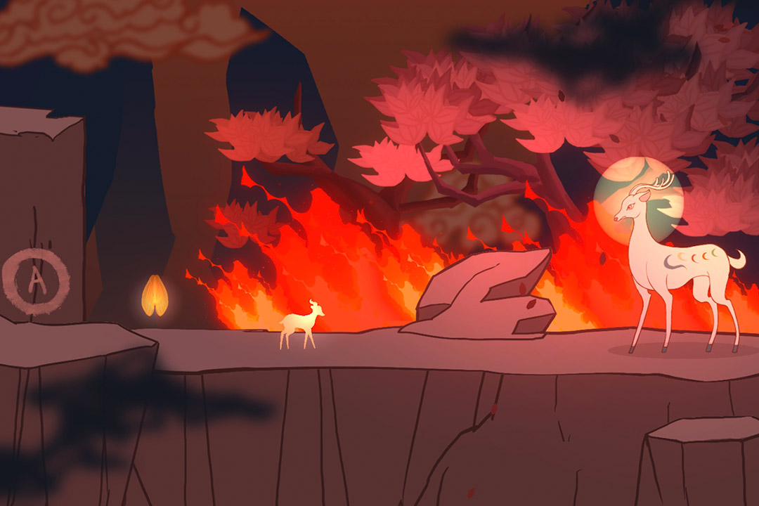 screenshot from animated video game of two deer on a rocky cliff with a forest fire in the background.