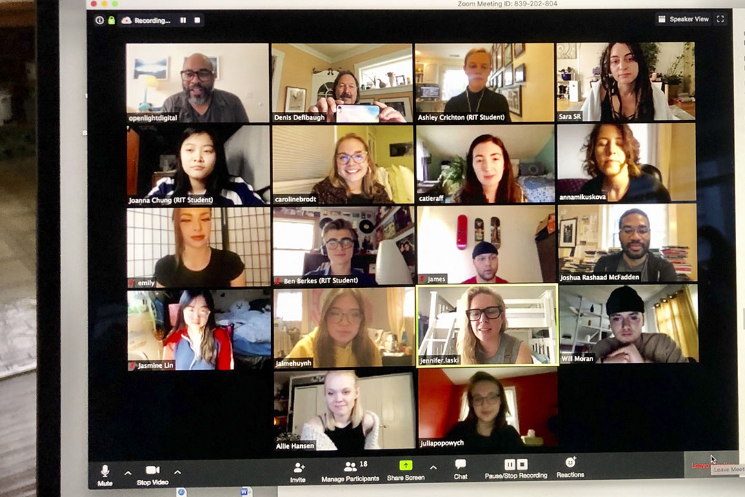 Students, faculty and guest speakers during a recent photography pop-up class, held on Zoom.