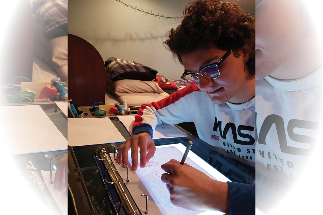 Student Nick Passanese works on a makeshift light table for animation at home.