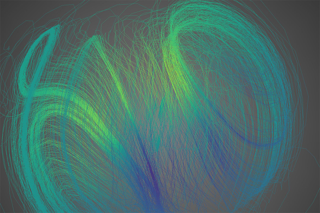 simulation of the magnetic field lines from a rotating neutron star.