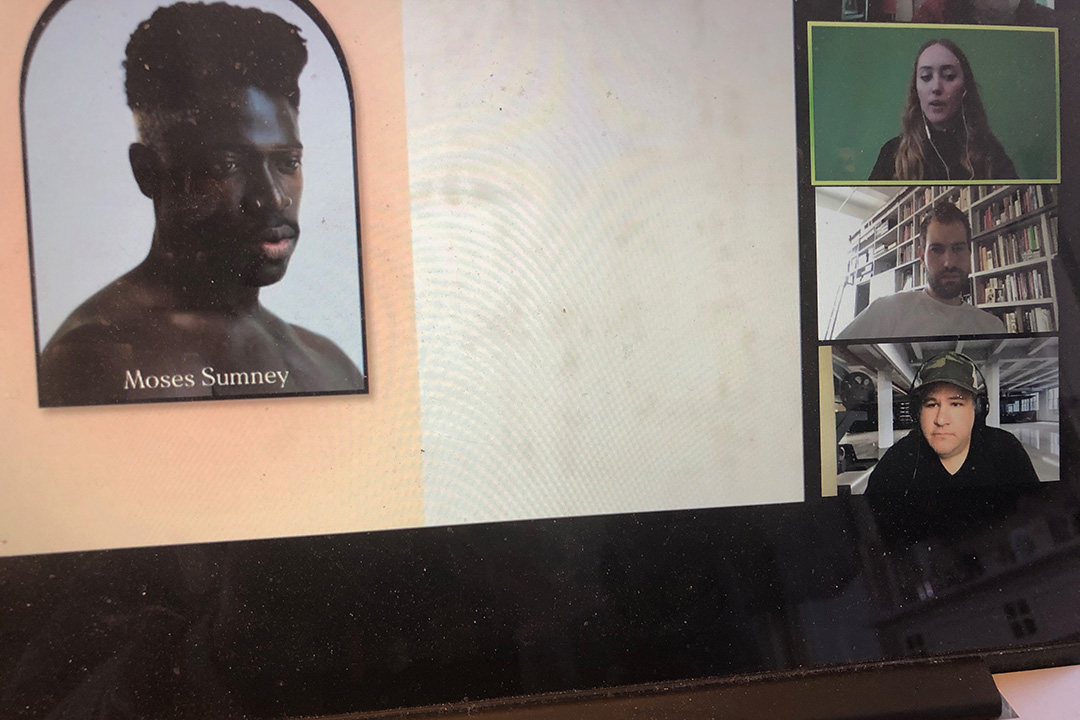A Zoom view of photography alumni Sam Cannon, Pari Dukovic and Steve Giralt leading a webinar.