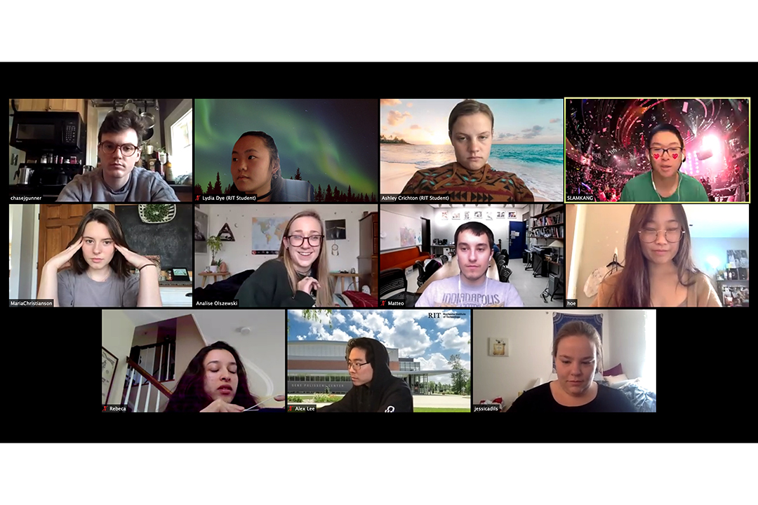 A grid of students part of a Zoom call.