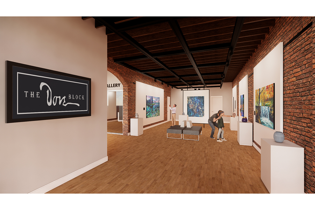 A rendering for a first-floor gallery in the Dove Block building.
