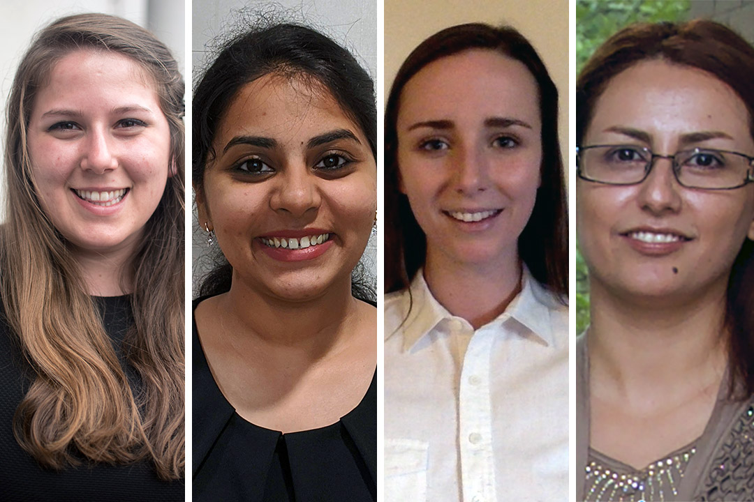 four female engineering Ph.D. students.