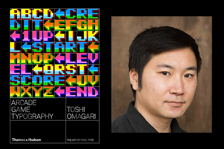 book cover for Aracde Game Typography next to author's headshot.