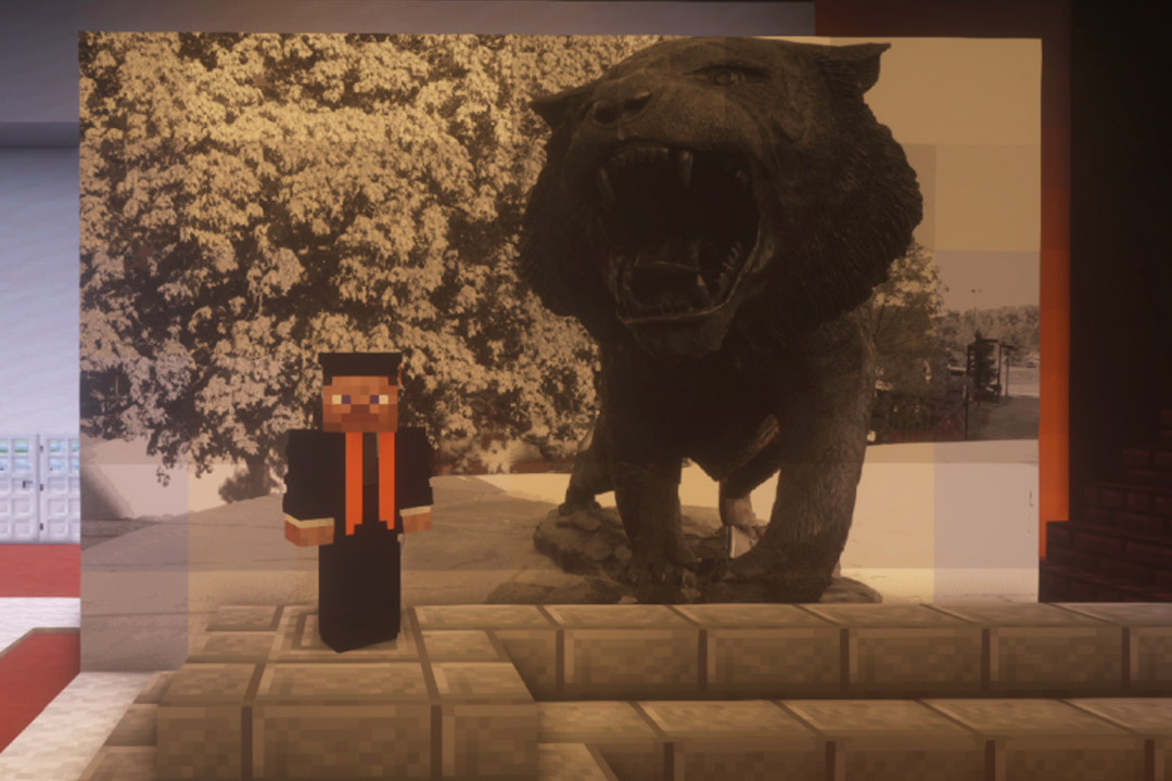 Minecraft character posing next to photo of tiger statue.