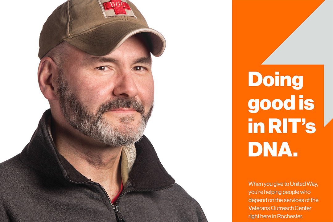 poster with man's face that reads: Doing good is in RIT's DNA.