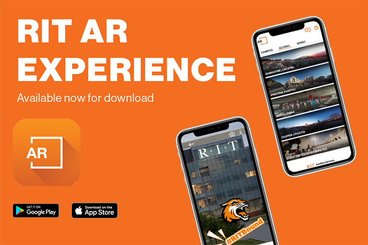 graphic that reads: RIT AR Experience available now for download.