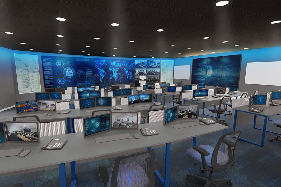 rendering of Cyber Range, with tables, computers and large display screens.