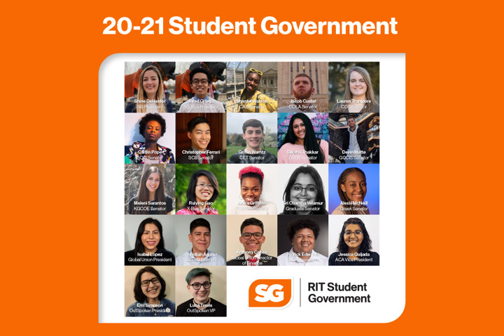 collection of 22 headshots of 2020-2021 Student Government representatives.
