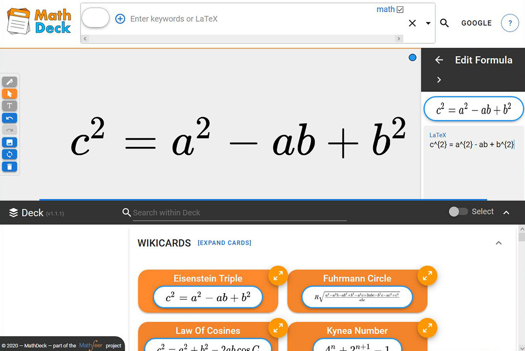 screenshot of program that searches math formulas.