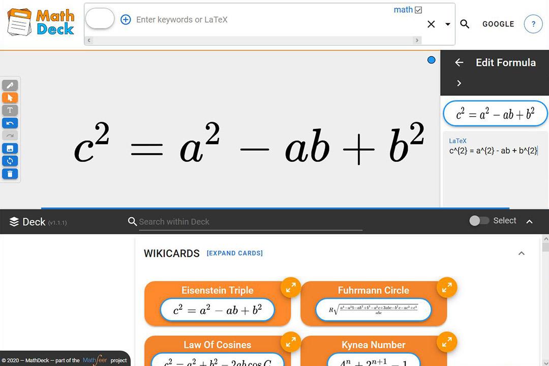 screenshot of program that searches math formulas.