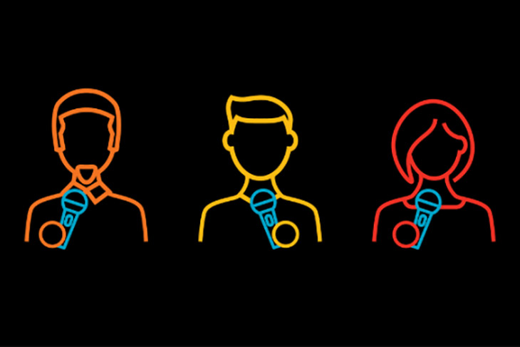 graphic with outlines of three people holding microphones.