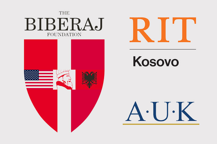 logos for the Biberaj Foundation, RIT Kosovo and AUK.