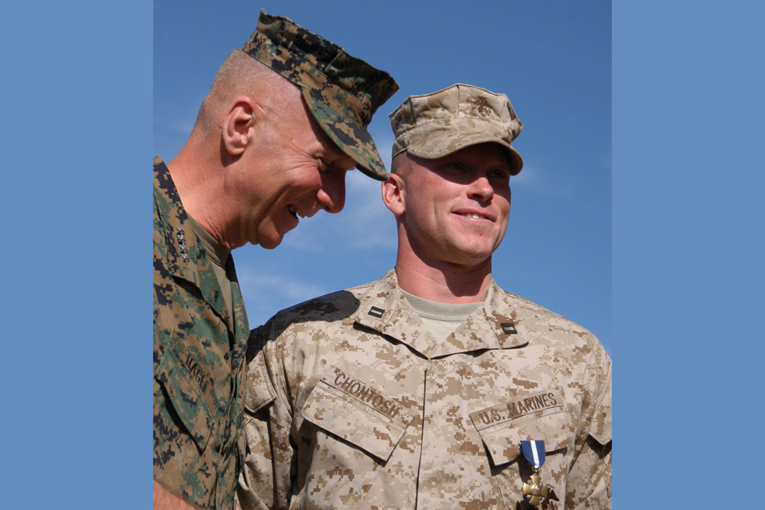 Marine wearing Navy Cross medal.