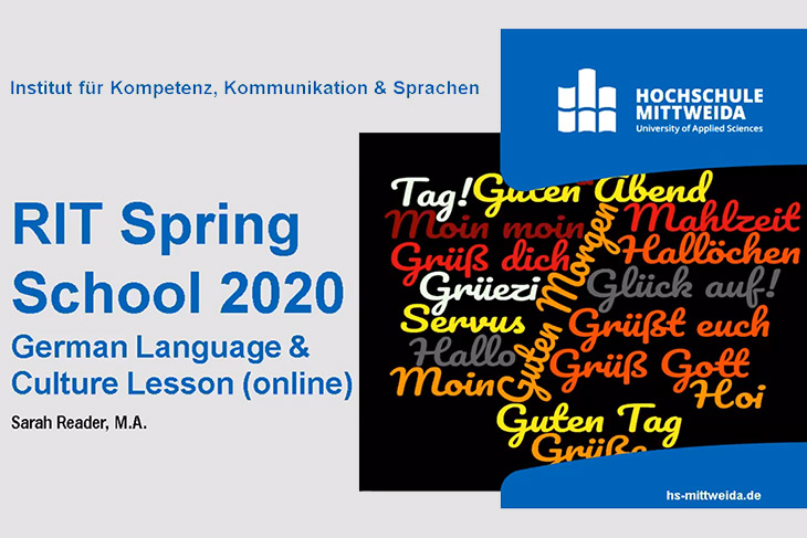 graphic that reads: RIT Spring School 2020 German language and culture lesson online.
