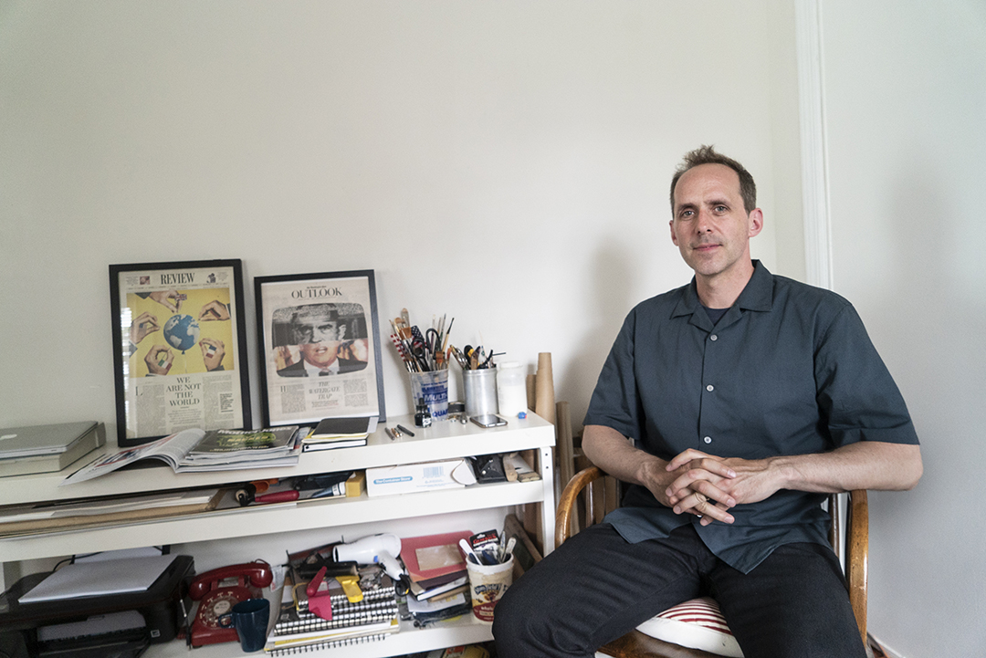 Doug Chayka poses in his home office in New Jersey.