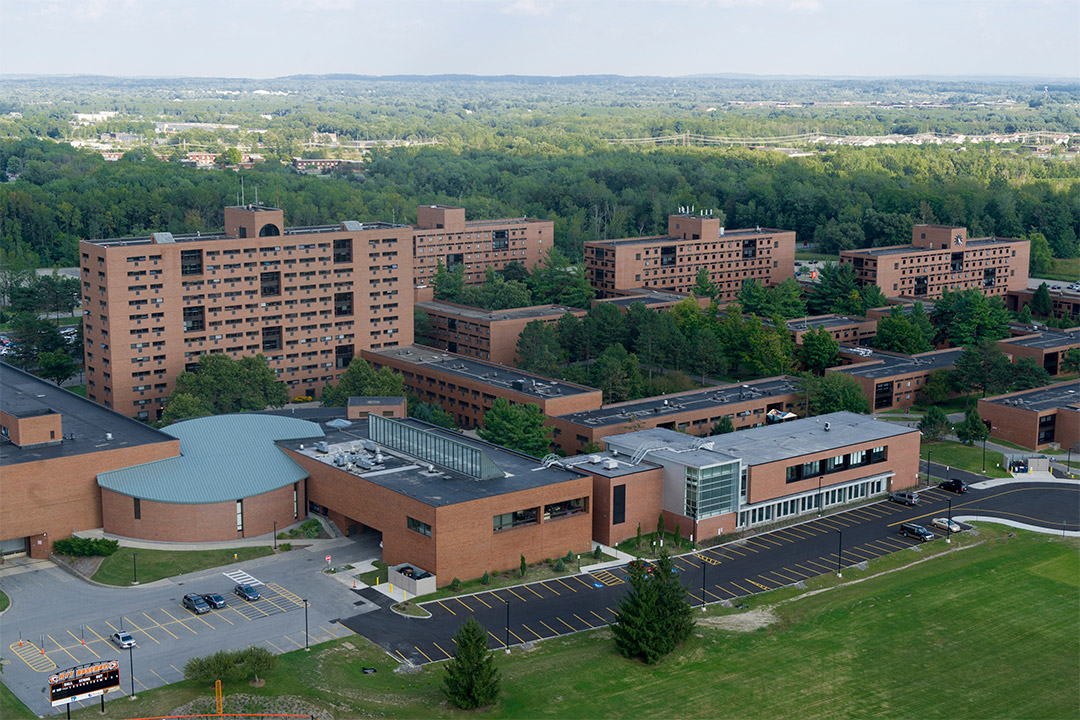 aerial view of residence halls on RIT campus.