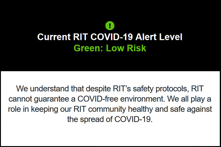 Current RIT COVID-19 Alert Level: Green: Low Risk.